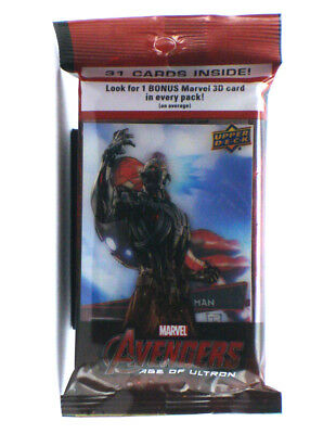 2015 Upper Deck Avengers Age Of Ultron 31-Card Jumbo Pack w/3D Insert Iron Man