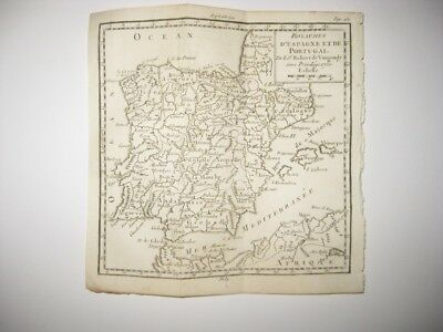 Early Vintage Antique 1750 Spain Portugal Royal Vaugondy Copperplate Map Fine Nr
