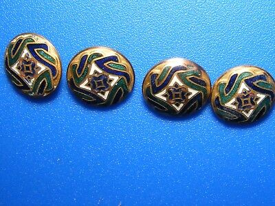 antique lot of 4 matching small champleve enamel buttons