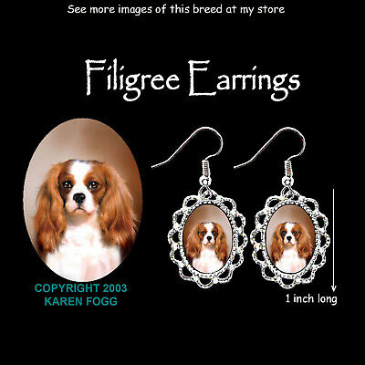 CAVALIER KING CHARLES SPANIEL Fawn - SILVER FILIGREE EARRINGS Jewelry