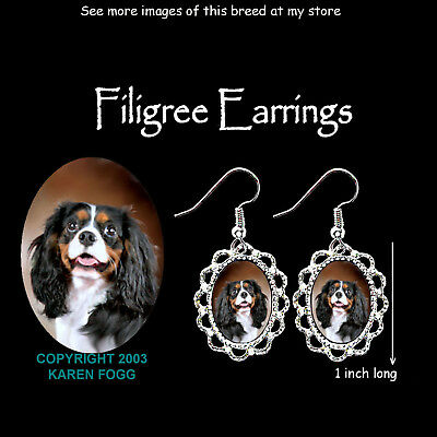 CAVALIER KING CHARLES SPANIEL Tri Color - SILVER FILIGREE EARRINGS Jewelry