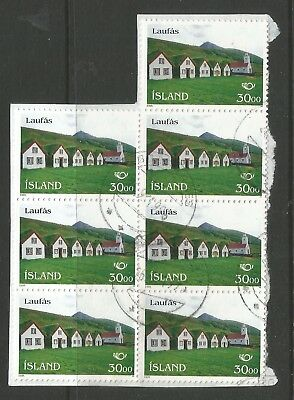 ICELAND 1995  30KR  NOTHERN DAY - TOURISM x 7 ON A PIECE,SCOTT 825, USED (o)