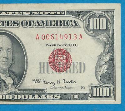 $100. 1966 Red Seal Legal Tender United States  Note  Original  Very Fine