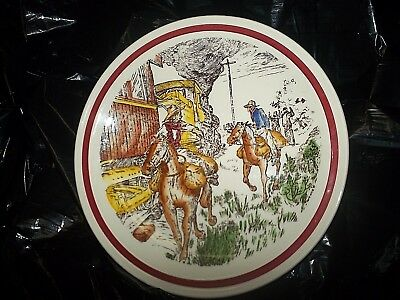 """vtg 50s Vernon Kilns BITS OF THE OLD WEST Train Robbers western Plate  8.5""""  usa"""