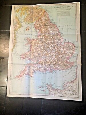 "ANTIQUE 1910 Map of ENGLAND & WALES! 108 years old 15"" x 11"" ready to frame NR!!"