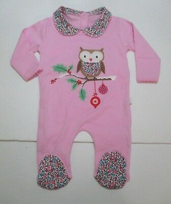 New Infant Girls Jojo Maman Bebe Pink Owl Christmas Ornament Footie Outfit 0-3 M