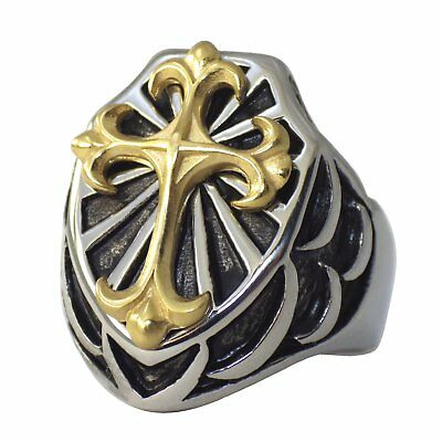 Mens Gold Tone Cross Shield Ring Surgical Stainless Steel Band Size 8-16 Signet