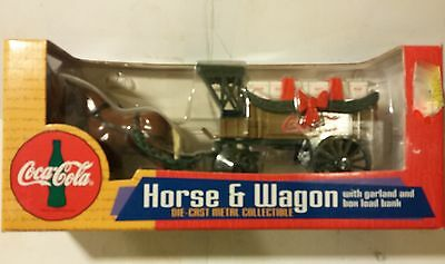 Coca Cola Ertl Horse & Wagon Bottle Delivery Truck Diecast Coin Bank