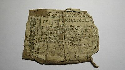 1768 5 Shillings North Carolina Colonial Currency Note Bill Five Continental