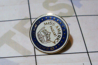 vintage brass enamel MISS AMERICA pageant contest PIN pinback Atlantic City NJ