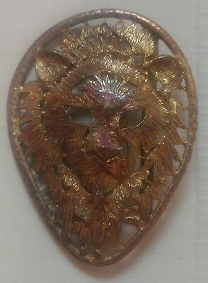 "Vintage Brass Lion Head Belt Buckle 3.5"" 3 1/2 Inch Antique -Only 1 on EBay Rare"