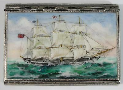 Antique Sterling Silver Enamel British Barque Masted Ship Cigarette Card Case