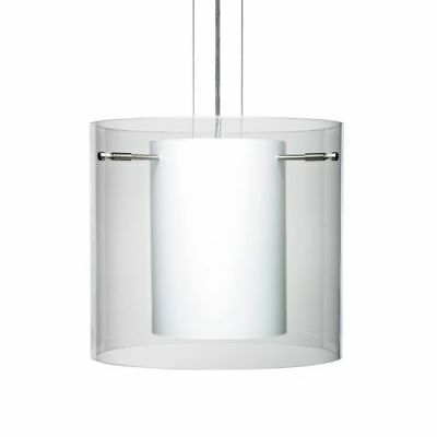 Besa Lighting 1KG-C18407-SN Pahu 1-Light Cable-Hung Pendant with Clear / Opal Gl