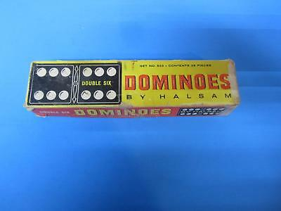 Vintage Halsam Double Six Wood Club Dominoes 28 Pieces USA Missing 1 Piece     M