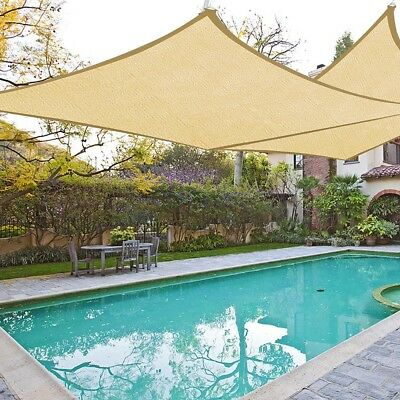 2pcs 18'x18' Square Sun Shade Sail Desert Sand Canopy Outdoor Patio Cover Top