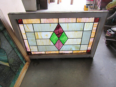 ~ ANTIQUE STAINED GLASS TRANSOM WINDOW ~ 36 x 24 ~ ARCHITECTURAL SALVAGE