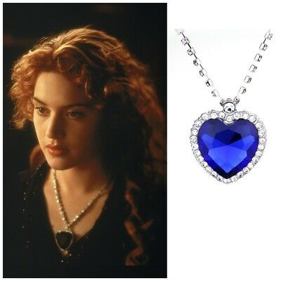 Titanic Film Heart Of The Ocean Replica Necklace Blue Glass Crystal Jewelry Rose