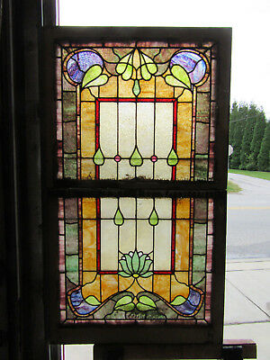 ~ Antique Stained Glass Windows ~ Double Hung Set ~ Architectural Salvage