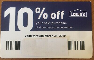 1 New Lowes 10% off Blue Discount Card DEC 12/31/18 Use at Lowes or Home Depot