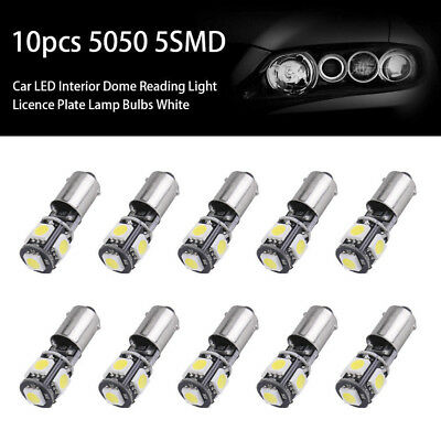 10x 5050 5SMD BA9S T4W H6W 12V LED Canbus Error Car Side Dome Light White Bulb