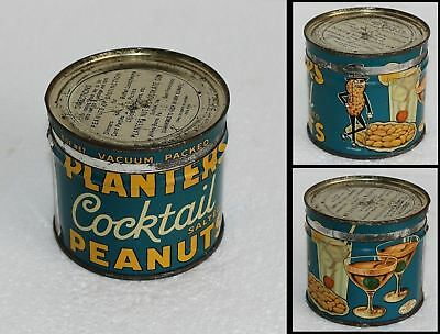 RARE 8oz 1930s Planters Cocktail Salted Mr. Peanuts Mixed Drinks Martini Tin Can