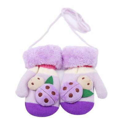 Children Kids Winter Warm Mittens Knitted Ladybug Cute Cartoon Gloves C