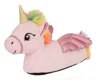 Womens Pink 3D Flying Unicorn Slippers Ladies Novelty Animal Slip On Booties