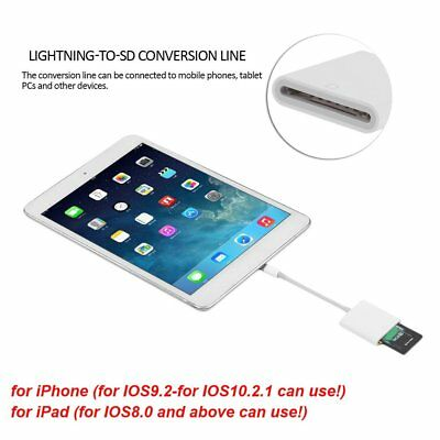 OTG Lightning Adapter to SD Card Camera Reader Photo for apple iPad iPhone 8ZH