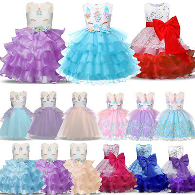 Girls Kid Flower Unicorn Costume Princess Dress Wedding Bridesmaid Party Tutu AU