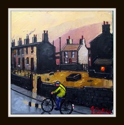 Original BEST Oil Painting Noted Artist James Downie : Old Tom Cycling Home