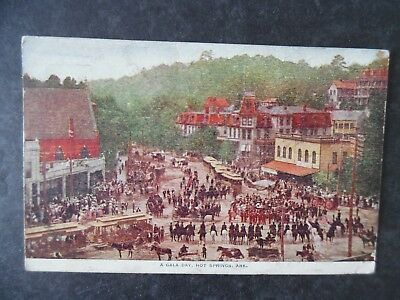1911 Hot Springs Arkansas Gala Day Big Crowd Street & Trolley Postcard & Cancel