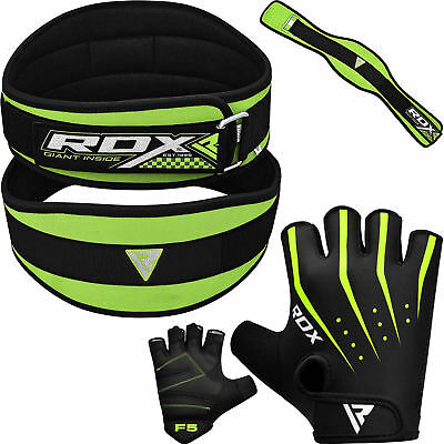 RDX Weight Lifting Body Building Gloves With Gym Belt Training Back Support CA