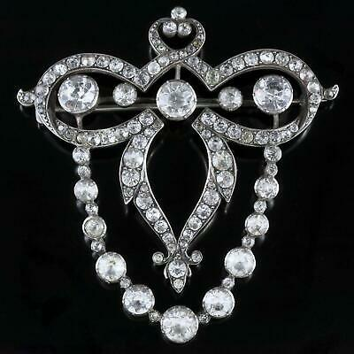 Antique Georgian Large Silver Paste Brooch Circa 1830
