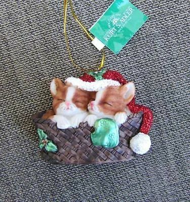Cats in Basket ORANGE Kittens w/Santa Hats Christmas Ornament CLEARANCE