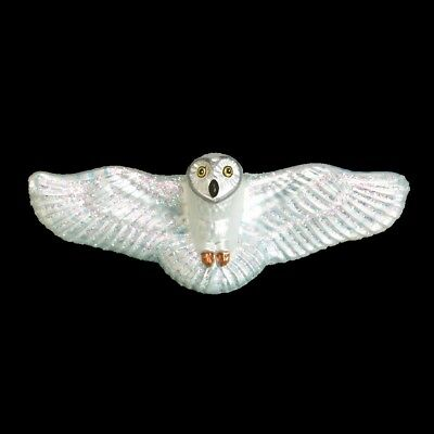 Old World Christmas FLYING OWL WHITE Blown Glass Ornament Retired 2016