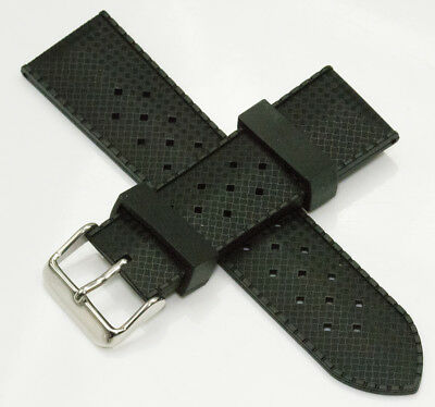 Silicone rubber black watch divers strap for Rolex Tropic dive band new