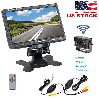 "Wireless 7"" TFT LCD Car Rear View Backup Monitor Parking Night Vision Camera Kit"