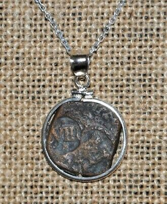 Authentic Spanish Colonial Pirate Shipwreck 8 Maravedis Coin 925 Silver Necklace