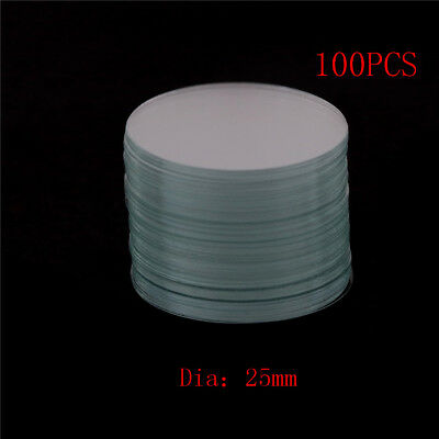 100Pcs Circular Round Microscope Slide Coverslip Cover Glass Diameter 25mm YJ
