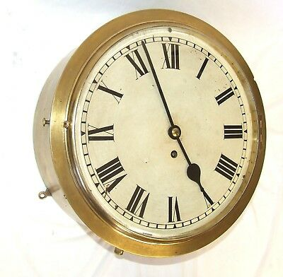 VERY RARE Antique Brass Cased Fusee Wall Clock / Ships Clock : 12 inch Dial