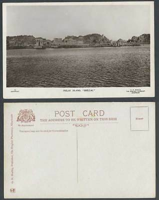 Egypt Old Real Photo Postcard Philae Island Shellal Isis Temple Kiosk River Hill