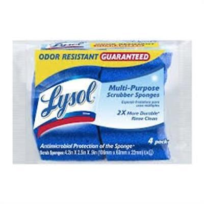 Quickie Manufacturing 4.2x2.5x0.9 in. Lysol Durable Scrub Sponge Blue, Pack of 4