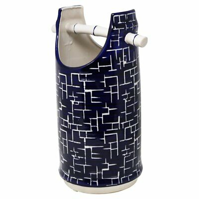 SageBrook Home Blue and White Bamboo Handle Vase