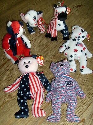 Lot of 6 Patriotic Ty Beanie Babies Glory Spangle USA Lefty Righty   With Tags