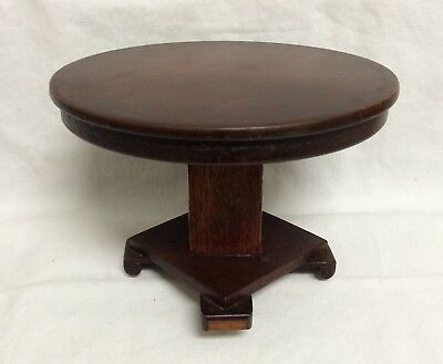 Dollhouse Miniature Artisan Arts Crafts Round Wood Pedestal Footed Dining Table