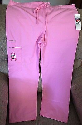 New Nfl Pink Ribbon Scrub Bottoms Size Small Look
