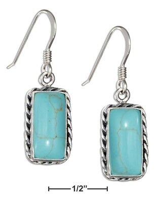 63f04730a Plum Island Silver Sterling Silver Simulated Turquoise Earrings with Rope  Border