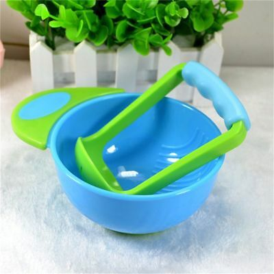 4X(Blue green baby manual food fruit and vegetable grinding bowls Baby food s HE