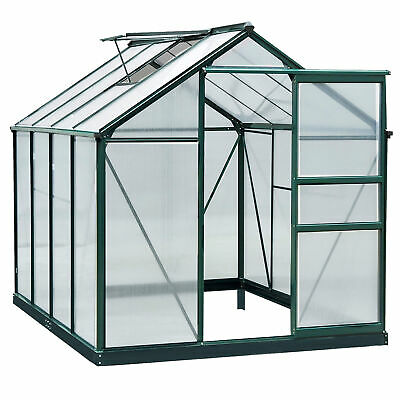 Outsunny Polycarbonate Walk-In Garden Greenhouse Aluminum Frame Plant Hobby