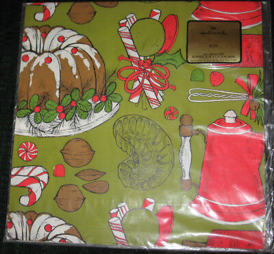 Vintage 70s Food Hallmark Gift wrap Wrapping Paper 2 sheet Christmas cake candy